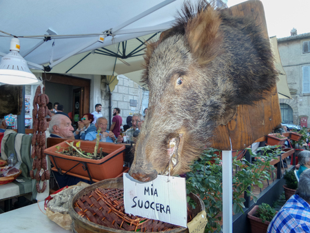 ORIOLO ROMANO, ITALY - SEPTEMBER 25, 2016: Hunting trophy, boar head appended at market stand with the occasion of Porcini Mushroom Festival.
