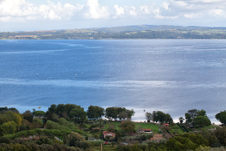 lazio: View above Bracciano Lake in Lazio, Italy. Stock Photo