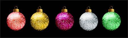 blue ball: Set of 5 glittered Christmas balls, on black background.
