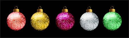 Set of 5 glittered Christmas balls, on black background.