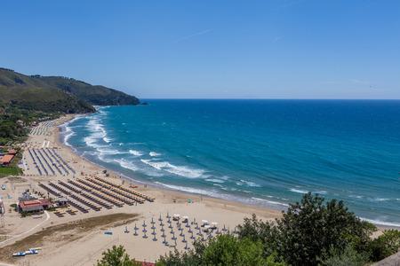 lazio: View above Sperlonga beach in Lazio, Italy.
