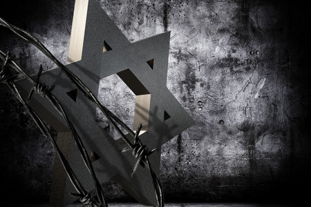 captives: Conceptual background in memoriam of the Shoah Day, representing a granite star of David barbed wire.