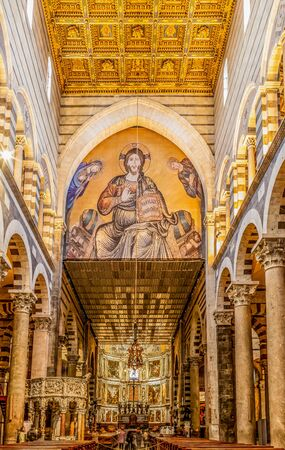 Interior of Pisa Cathedral, a medieval Roman Catholic cathedral dedicated to the Assumption of the Virgin Mary, in the Piazza dei Miracoli in Pisa, Italy. Editorial