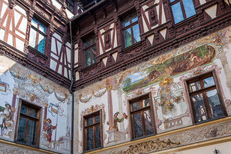 depicted: Depicted walls at Peles Castle in Sinaia, Romania. Editorial