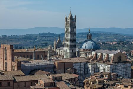 View of the Siena Cathedral from above, Tuscany, Italy. Stock Photo