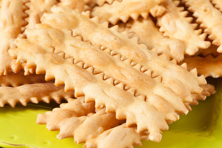 crostoli: Typical Italian fritters called chiacchiere or bugie, made with the occasion of the carnival.