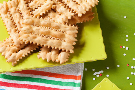 chiacchiere: Typical Italian carnival fritters called chiacchiere or bugie. Stock Photo