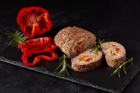 meatloaf: Minced meat loaf with pepper and cheese.