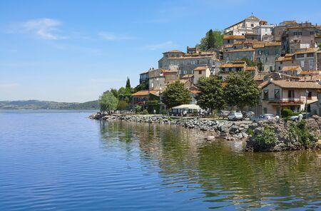 etruscan: The small village of Anguillara Sabazia located on Bracciano Lake in Lazio, Rome, Italy.