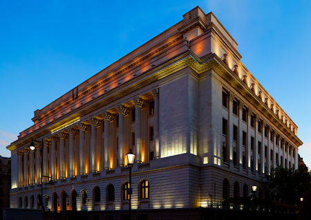 The National Bank of Romania in Bucharest, night shot.