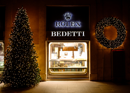 ROME, ITALY- NOVEMBER 18, 2017: Christmas time at Bedetti store with a tradition of more than 100 years, quality range of Haute Horlogerie brands and a first class name in the field of diamonds.
