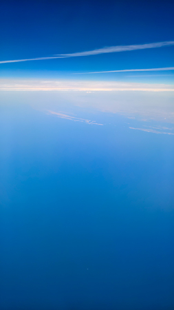 Aerial view of the Adriatic Sea and Croatia coast from ten thousand meters above the Earth.
