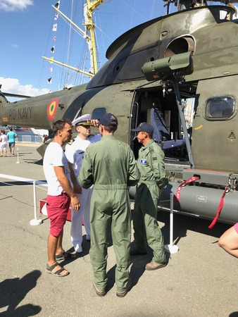 CONSTANTA, ROMANIA - AUGUST 11, 2018: IAR 330L Puma helicopter, the Romanian-built version of the Aerospatiale SA 330 Puma helicopter, manufactured by IAR BraÈ™ov, at Romanian Open Gates.