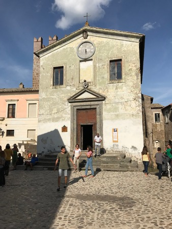 CALCATA, LATIUM, ITALY - SEPTEMBER 9, 2018: Small church which once supposed to house the sacred relic of the foreskin of Jesus, now mysteriously vanished.