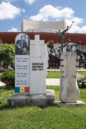 Bucharest, Romania - May 30, 2019: The monument to Cristian Paturca the composer of a song called The Hooligans Hymn that inspired Romanians in their struggle against the Communist government. Editorial