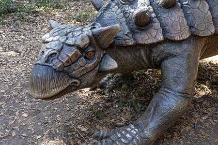 ROME, ITALY - AUGUST 8, 2020: Tarchia gigantea ankylosaurid dinosaur model exhibited at Dinosaurs in flesh and bones exhibition of the WWF Oasis of Fregene Lazio coast.