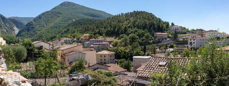 Panoramic view above Gualdo Tadino with Apennines mountains at the horizon Umbria Italy