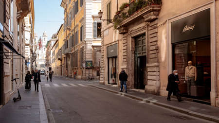 Rome, Italy - February 25, 2021: Via dei Condotti looking towards Piazza di Spagna during the period of the pandemic is no longer the busy and trendy street as it always was