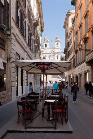 Rome, Italy - February 25 2021: Antico Caffe Greco is a historic landmark cafe which opened in 1760 on Via dei Condotti and it is the oldest bar in Rome and second oldest in Italy.