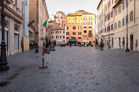 Rome, Italy - February 25, 2021: Piazza di San Lorenzo in Lucina located in the area of the Trident with a famous church is also an ideal place for a walk and maybe a stop at one of its historic bars