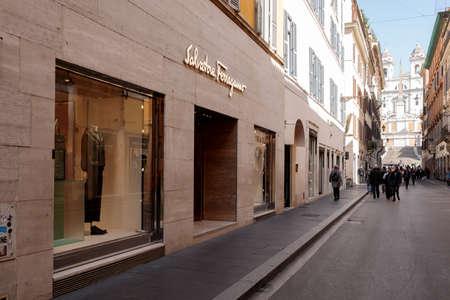 Rome, Italy - February 25 2021: Salvatore Ferragamo boutique in Via dei Condotti almost empty in the time of the  pandemic Editöryel