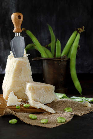Pecorino cheese with broad beans typical snack of the roman cuisine Stok Fotoğraf