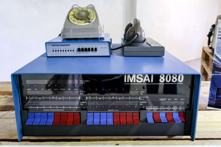 Rome, Italy - April 27, 2019: The IMSAI 8080 early microcomputer released in late 1975 one of the hacking tools used by the main character in the 1983 movie WarGames.