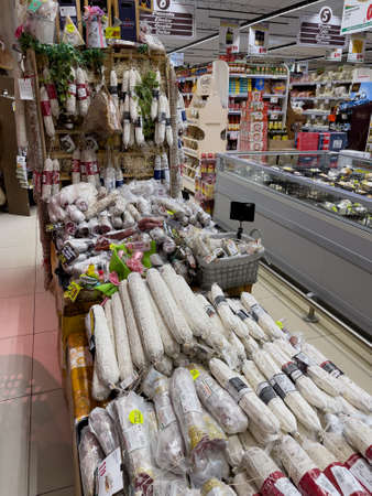 Bracciano, Rome, Italy - March 26, 2021: Delicatessen department in the Italian supermarket of the Gros chain before Easter Editöryel
