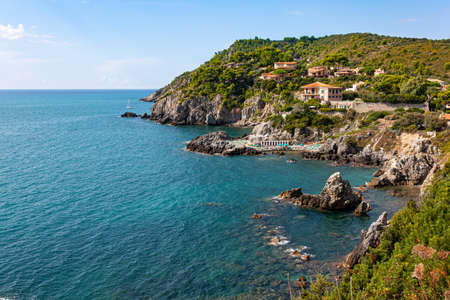 Cape promontory on the sea at Talamone in Tuscany Italy