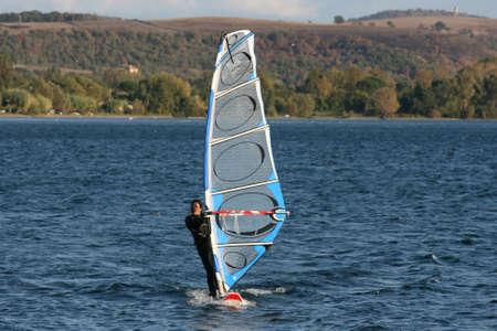 Surfboard windsurf on Bracciano lake in Lazio Italy