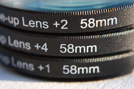 Three different close-up lens in stack