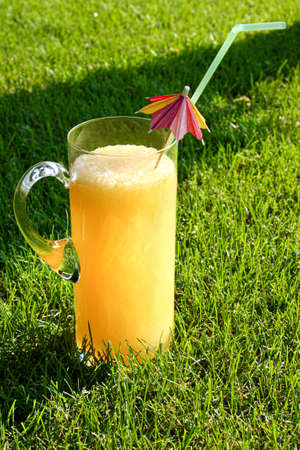 Lemonade jug on the green grass of the lawn Stok Fotoğraf