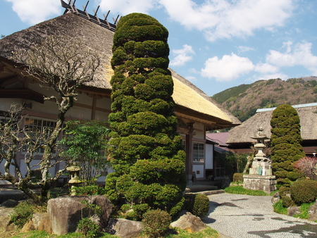 thatched roof: Temple Fukusenji with thatched roof in Atami city