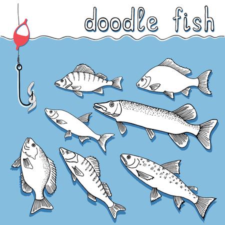 line drawing: Set of hand drawn fish