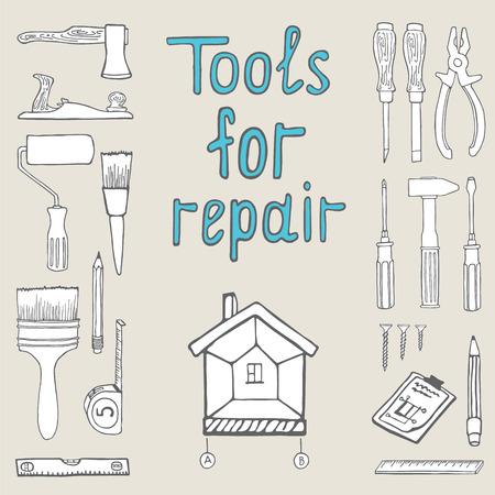 working tools: Set of handn drawn fish tools for repair Illustration