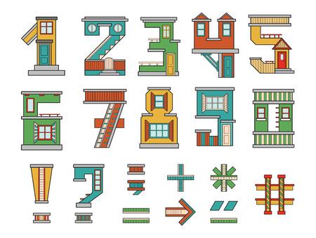 handgemaakte lettertype, cartoon-stijl illustraties, cijfers en symbolen, alfabet