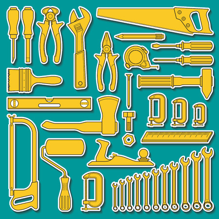 Set of handn drawn tools for repair or tools for hardware store Illustration