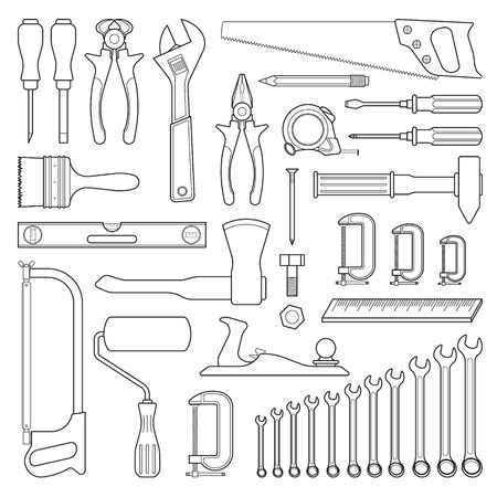 Set of handn drawn tools for repair or tools for hardware store