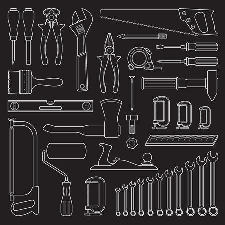 hardware: Conjunto de handn elaborado herramientas para la reparación o herramientas para ferretería Vectores