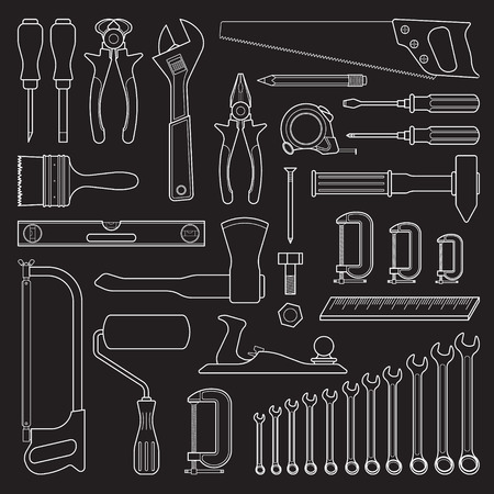 hardware: Set of handn drawn tools for repair or tools for hardware store Illustration