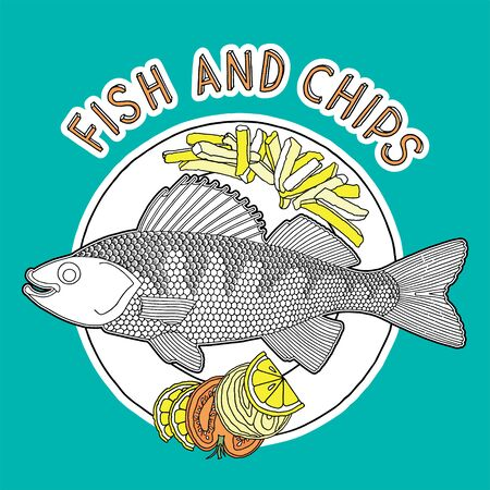 fish and chips: Hand drawn fish, chips and vegetables on a plate