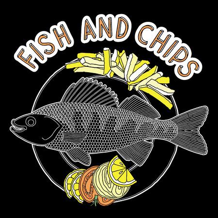fish and chips: Dibujado a mano de pescado, patatas fritas y verduras en un plato