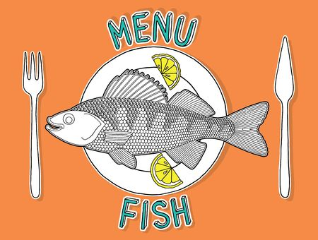 setting table: Hand drawn fish and lemon on a plate