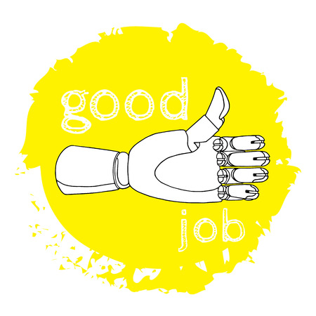 good job: Hand drawn thumb up and the inscription good job