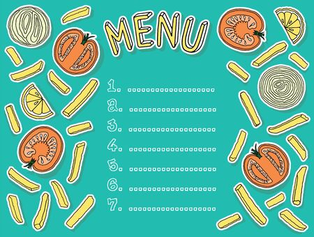 fruit and veg: a booklet with the words menu choice for writing of dishes in the center and frame products Illustration