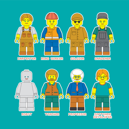 cartoon carpenter: Flat set of people in different professions in constructor style. Convenient guide for children showing different profession.