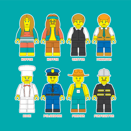 convenient: Flat set of people in different professions in constructor style. Convenient guide for children showing different profession.