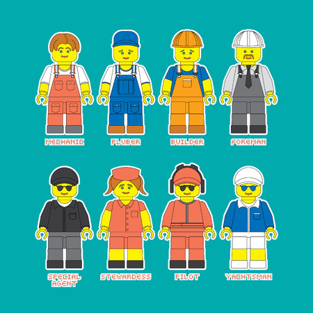 yachtsman: Flat set of people in different professions in constructor style. Convenient guide for children showing different profession.