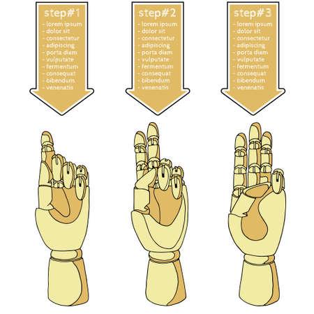 precedency: Hand drawn set of hands for infographics Illustration