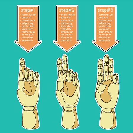 precedency: Hand drawn set of hands for infographics Illustration